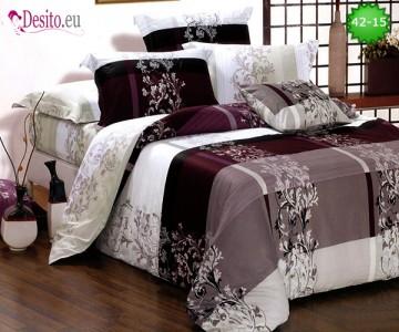 Спално бельо от 100% памук, 6 части и чаршаф с ластик с код 42-15