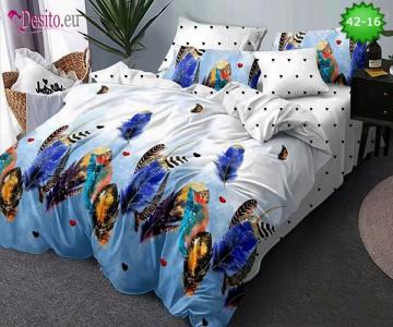 Спално бельо от 100% памук, 6 части и чаршаф с ластик с код 42-16