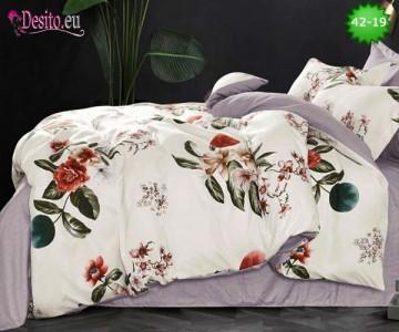 Спално бельо от 100% памук, 6 части и чаршаф с ластик с код 42-19