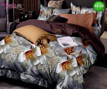 Спално бельо от 100% памук, 6 части и чаршаф с ластик с код 42-24