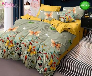 Спално бельо от 100% памук, 6 части и чаршаф с ластик с код 42-25