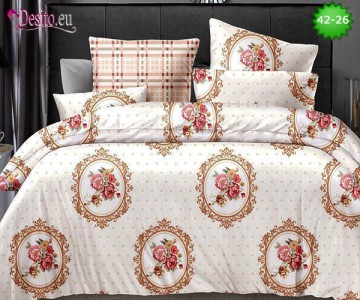 Спално бельо от 100% памук, 6 части и чаршаф с ластик с код 42-26
