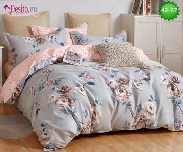 Спално бельо от 100% памук, 6 части и чаршаф с ластик с код 42-27