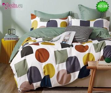 Спално бельо от 100% памук, 6 части и чаршаф с ластик с код 42-28