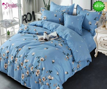 Спално бельо от 100% памук, 6 части и чаршаф с ластик с код 42-29