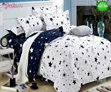 Спално бельо от 100% памук, 6 части и чаршаф с ластик с код 42-30