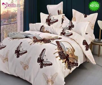 Спално бельо от 100% памук, 6 части и чаршаф с ластик с код 42-32