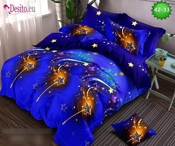 Спално бельо от 100% памук, 6 части и чаршаф с ластик с код 42-33