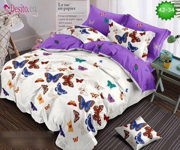 Спално бельо от 100% памук, 6 части и чаршаф с ластик с код 42-34