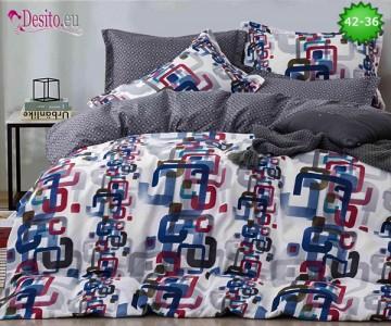 Спално бельо от 100% памук, 6 части и чаршаф с ластик с код 42-36