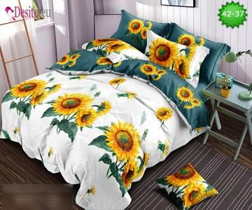Спално бельо от 100% памук, 6 части и чаршаф с ластик с код 42-37