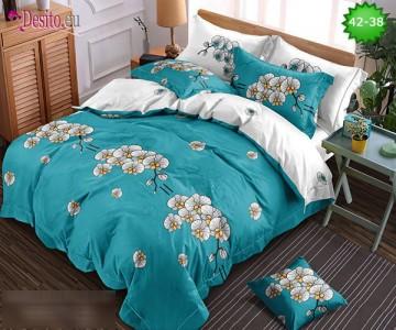 Спално бельо от 100% памук, 6 части и чаршаф с ластик с код 42-38