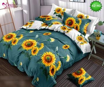 Спално бельо от 100% памук, 6 части и чаршаф с ластик с код 42-40