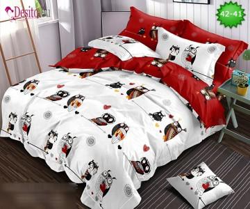 Спално бельо от 100% памук, 6 части и чаршаф с ластик с код 42-41