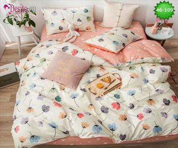 Спално бельо от 100% памук, 6 части - двулицево, с код 46-109