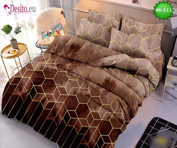 Спално бельо от 100% памук, 6 части - двулицево, с код 46-111