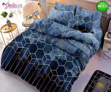 Спално бельо от 100% памук, 6 части - двулицево, с код 46-112