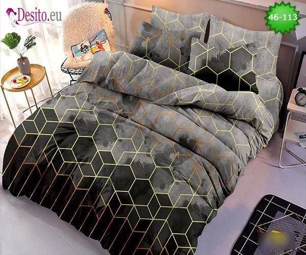 Спално бельо от 100% памук, 6 части - двулицево, с код 46-113