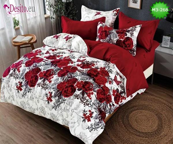 Спално бельо от 100% памук, 6 части, двулицево с код M3-268