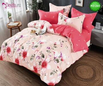 Спално бельо от 100% памук, 6 части, двулицево с код M3-269