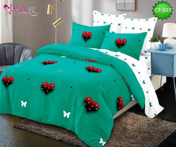 Спално бельо от 100% памук, 6 части - двулицево, с код C7-223