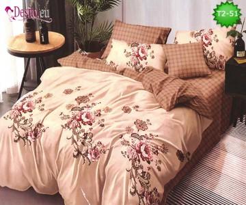 Спално бельо от 100% памук, 6 части - двулицево, с код T2-51