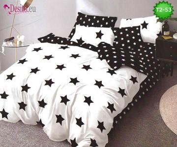 Спално бельо от 100% памук, 6 части - двулицево, с код T2-53