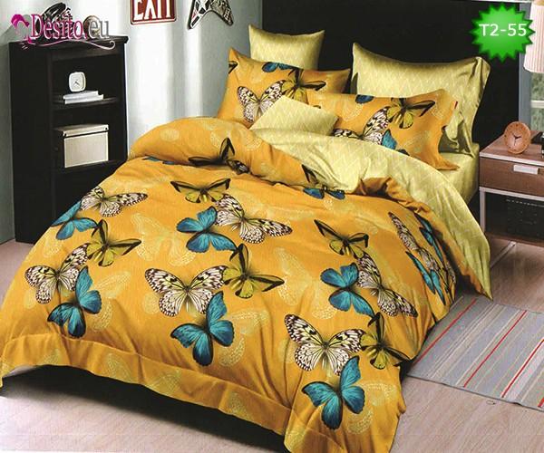 Спално бельо от 100% памук, 6 части - двулицево, с код T2-55