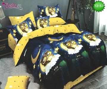 Спално бельо от 100% памук, 6 части - двулицево, с код T2-57