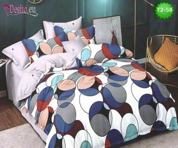 Спално бельо от 100% памук, 6 части - двулицево, с код T2-58