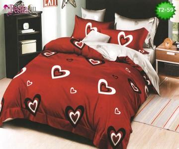 Спално бельо от 100% памук, 6 части - двулицево, с код T2-59