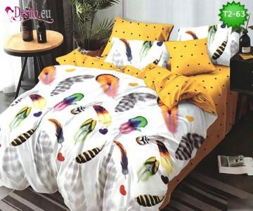 Спално бельо от 100% памук, 6 части - двулицево, с код T2-63