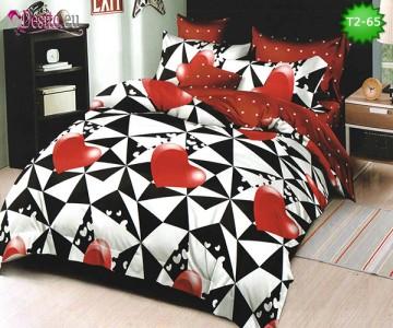 Спално бельо от 100% памук, 6 части - двулицево, с код T2-65