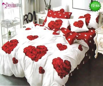 Спално бельо от 100% памук, 6 части - двулицево, с код T2-66