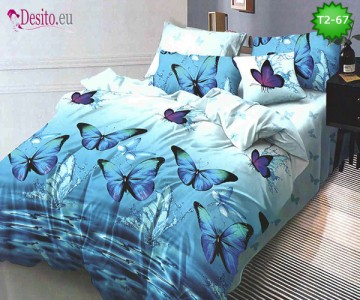 Спално бельо от 100% памук, 6 части - двулицево, с код T2-67