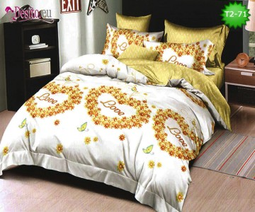 Спално бельо от 100% памук, 6 части - двулицево, с код T2-71