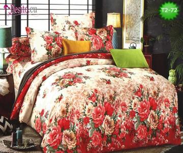 Спално бельо от 100% памук, 6 части - двулицево, с код T2-72
