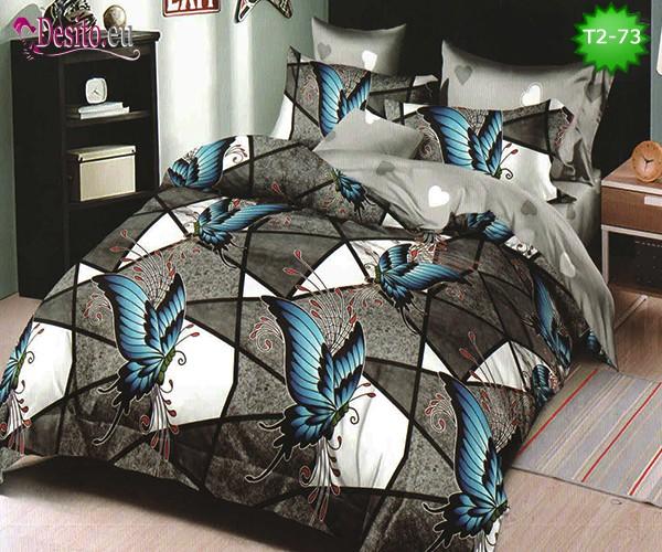 Спално бельо от 100% памук, 6 части - двулицево, с код T2-73