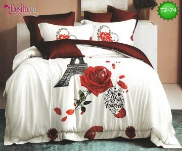 Спално бельо от 100% памук, 6 части - двулицево, с код T2-74