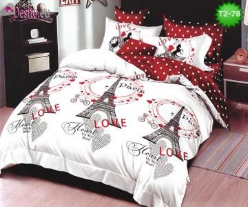 Спално бельо от 100% памук, 6 части - двулицево, с код T2-78