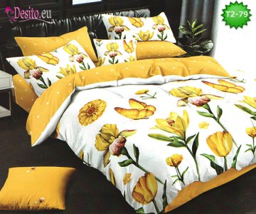 Спално бельо от 100% памук, 6 части - двулицево, с код T2-79