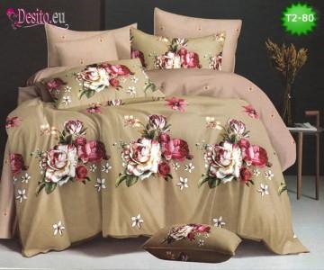 Спално бельо от 100% памук, 6 части - двулицево, с код T2-80