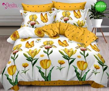 Спално бельо от 100% памук, 6 части и чаршаф с ластик с код GT-103
