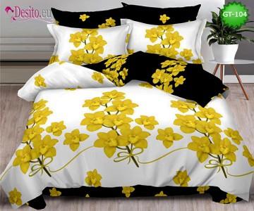 Спално бельо от 100% памук, 6 части и чаршаф с ластик с код GT-104
