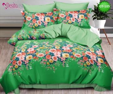 Спално бельо от 100% памук, 6 части и чаршаф с ластик с код GT-105