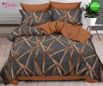 Спално бельо от 100% памук, 6 части и чаршаф с ластик с код GT-107