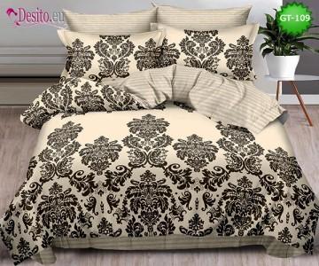 Спално бельо от 100% памук, 6 части и чаршаф с ластик с код GT-109