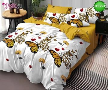 Спално бельо от 100% памук, 6 части, двулицево с код M3-274