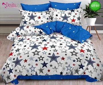 Спално бельо от 100% памук, 6 части и чаршаф с ластик с код GT-97
