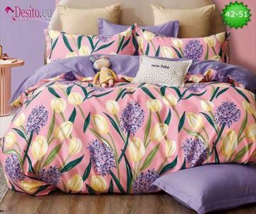 Спално бельо от 100% памук, 6 части и чаршаф с ластик с код 42-51